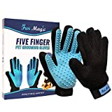 Fur Magic Pet Grooming Glove 1 Pair, Dog Cat Hair Remover Brush, Grooming, Deshedding & Massaging Tool with Enhanced Five Finger Design