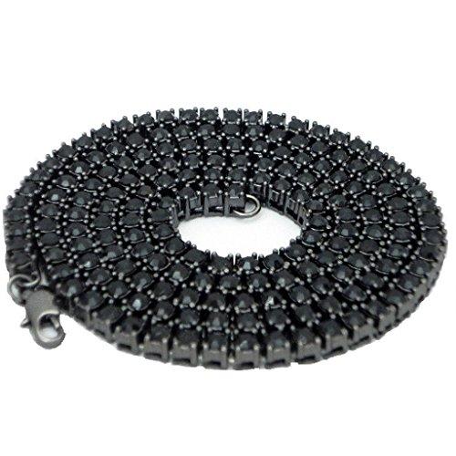 Colcolo 20/25/30 Pulgadas 1 Fila Brillante Collar de Tenis Hippy Rock para Hombre con Diamantes de Imitación - Negro