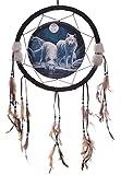 Traumfänger Wolf Winter Krieger drei Größen zur Auswahl, Größe:mittel