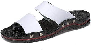 Fashion Slippers For Men Casual Sandals Slip On Style OX Leather Fashion Rivet Reinforcement Pure Colors Yangjilanfqq (Color : White, Size : 49 EU)
