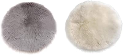 Blesiya 2 Pieces Soft Artificial Wool Rugs, Modern Shaggy Round Area Rug Fluffy Rugs, Multipurpose Antifouling Pads Floor Mat Blanket for Home Accessories