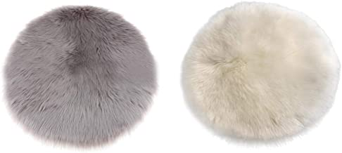 Blesiya 2 Pieces Soft Artificial Wool Rugs, Modern Shaggy Round Area Rug Fluffy Rugs, Multipurpose Antifouling Pads Floor ...