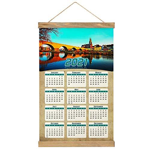 Alemania Antiguo Puente de Piedra Ratisbona Imprimir Póster Calendario de Pared 2021 12 Meses Pintura decorativa Cuadros Colgantes Lienzo Madera 20.4