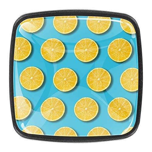 (4 piezas) pomos de armario de cristal de cristal, tiradores de cajón de pulgadas, tiradores de cajones para armarios de cocina, armarios, estanterías, cajoneras, cajones, frutas amarillas y limón