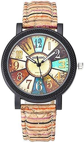 Kinhevao Vintage Wood-Korn-Uhr, Frauen-Mode Bunte Kompass Rot Schwarz Lila Streifen aus Holz wie Lederband analoger Quarz-Armbanduhr