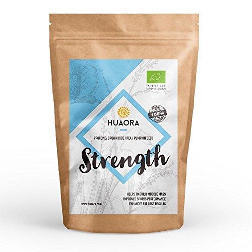 Huaora Strength - Proteína de arroz integral, proteína de guisante y proteína de semilla de calabaza | Proteínas Vegetales Orgánicas en Polvo | Sin Gluten y apto para Veganos