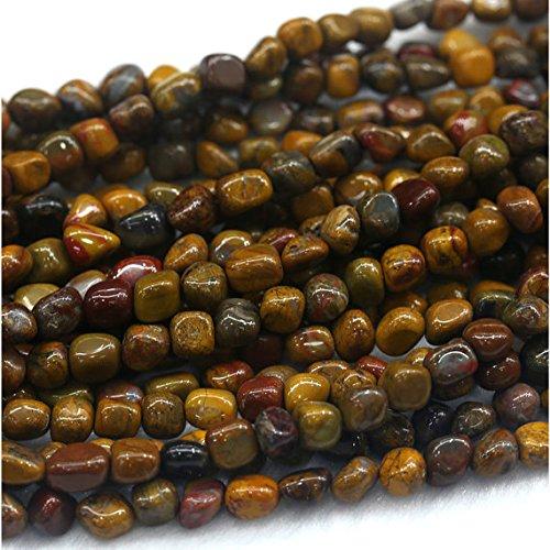 "1hilos Natural amarillo Rainbow madera petrificada Jasper Nugget forma libre Loose Beads Fit joyas 15""5x 7mm 03979"