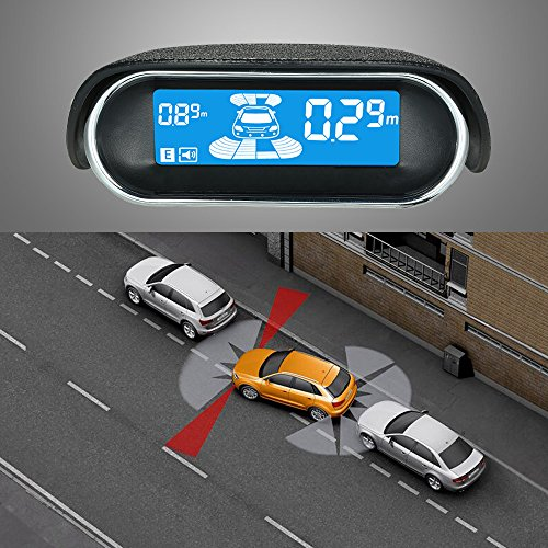 EZETEK/® 4 Parking Sensors LED Display Car Reverse Backup Radar System EZ-CR001