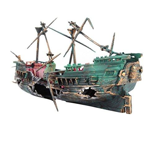 VAWAA Grande Forma di Barca Rotta Decorazione dell'acquario Acquario Ornamento Nave Spaccata in Aria Naufragio Acquario Decor Affondato Barca del relitto