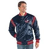 STARTER Adult Men The Enforcer Satin Jacket NHL Columbus Blue Jackets, Navy, Large