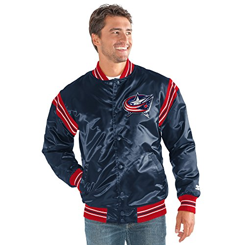 STARTER Adult Men The Enforcer Satin Jacket NHL Columbus Blue Jackets, Navy, Large