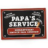 Papa's Service - Kunststoff Schild, Türschild Papas Werkstatt (30 x 20 cm), Geschenkidee...