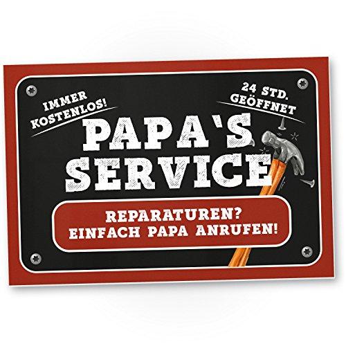 Papa's Service - Kunststoff Schild, Türschild Papas Werkstatt (30 x 20 cm), Geschenkidee Geburtstagsgeschenk Vater, Geschenk Papa, Wanddeko Werkstatt/Garage, Deko das Haus