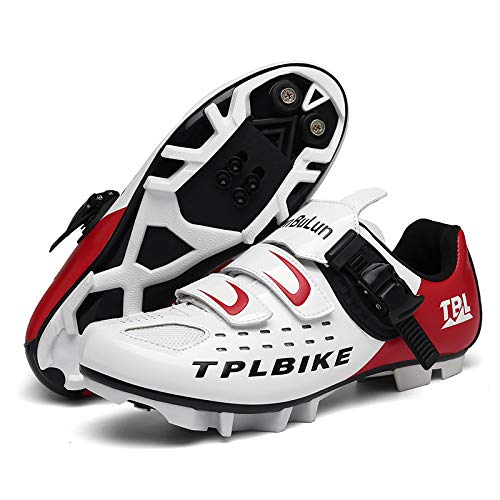 KUXUAN Zapatillas de Ciclismo MTB para Hombre,Zapatos de Ciclismo de Montaña con Candados,Calzado Deportivo de Invierno para Hombre y Mujer/Suelas-Nailon,White-4UK=(235mm)=37EU
