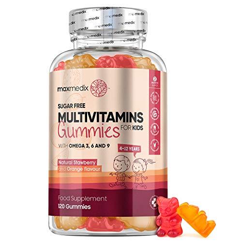 Multivitaminico Bambini - 120 Vitamine Gommose (Scorta di 2 Mesi) - Difese Immunitarie Bambini - Omega 3 6 9 - Minerali e Vitamine Bambini - Orsetti Gommosi Senza Zucchero - Gusto Fragola & Arancia