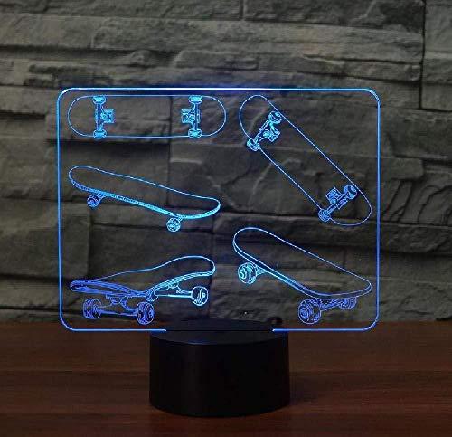 3D skateboard lamp 16 kleuren tafellamp met LED kleurverloop nachtlicht tafellamp voor creatieve festivals