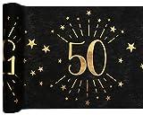 Santex 6787-50-30, Runner da tavolo, età scintillante in metallo, colore: nero/oro, 50 anni
