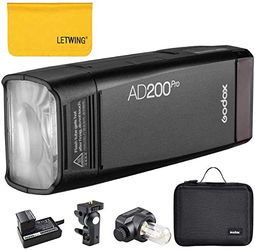 Godox ad200pro ad200 pro ttl 2. 4g hss 1/8000s pocket flash light double head 200ws with 14. 4v/2900mah lithium battery,500 full power flashes,0. 01-1. 8s recycling,bare bulb/speedlite fresnel flash head