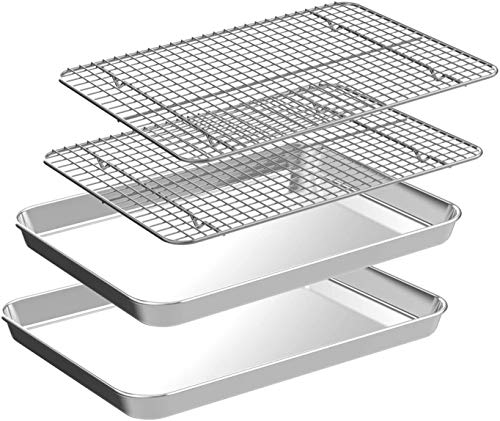 Quarter Baking Sheet with Rack Set [2 Pans + 2 Racks], CEKEE Stainless Steel Cookie Sheet Baking Pan Tray with Cooling Rack, Non Toxic & Heavy Duty & Easy Clean (12 Inch)