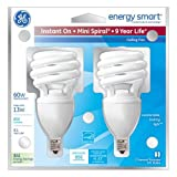 GE Lighting 75368 Energy Smart 13-Watt Spiral Compact Fluorescent Bulb, Candelabra Base, 2-Pack