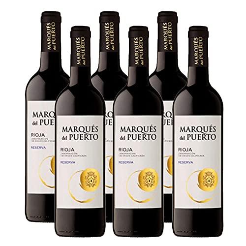 Vino Tinto Marques del Puerto Reserva de 75 cl - D.O. Rioja - Bardinet (Pack de 6 botellas)