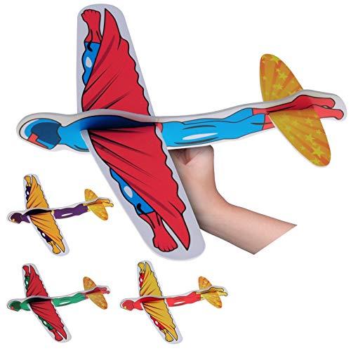 Neu 2019: 4 aviones XXL de poliestireno superhéroes, como juguete para cumpleaños infantiles, gigantes de 40 cm para niños, juego de construcción