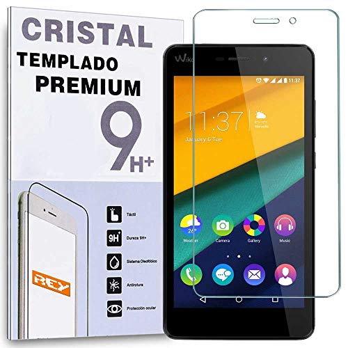 REY Protector de Pantalla para Wiko Pulp Fab Cristal Vidrio Templado Premium