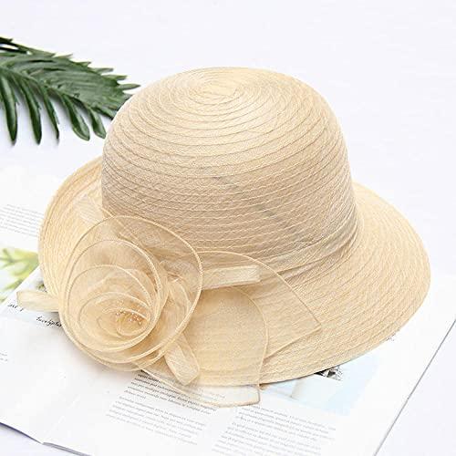 折りたたみ式オーガンザ女性夏夏帽子フラワーネットガーゼ盆地帽子日よけ帽屋外大ひさし日よけ帽-Beige-Adjustable