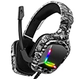 Grorytrack 3D Surround Gaming Headset Headphone for PS4, Xbox ONE Controller,Nintendo Switch,PC,Laptop,MAC,Over-Ear Soft Memory Earmuffs Headset with LED Light,Mic&Voice Control