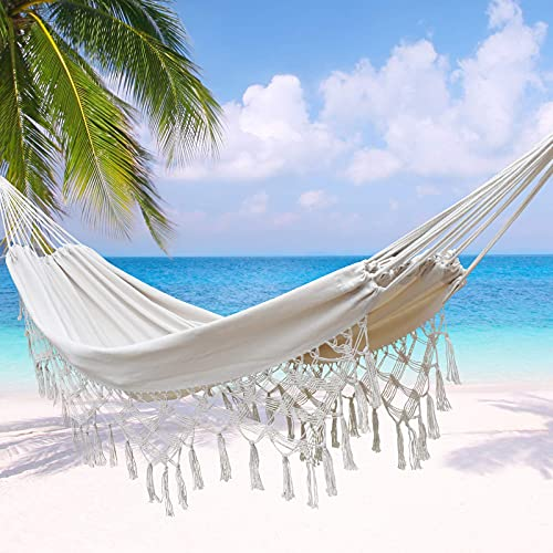 of garden patio hammocks dec 2021 theres one clear winner ZLX Macrame Boho Brazilian Hammock with Fringe Indoor Outdoor Handmade Cream Cotton Hammocks with Tie Rope and Carry Bag for Bedroom Patio Backyard Balcony Garden Camping White-1