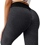 MOSHENGQI Women's Ruched Butt Lifting High Waist Yoga Pants Tummy Control Stretchy Workout Leggings Textured Booty Tights(Small,#1 Dark Grey)