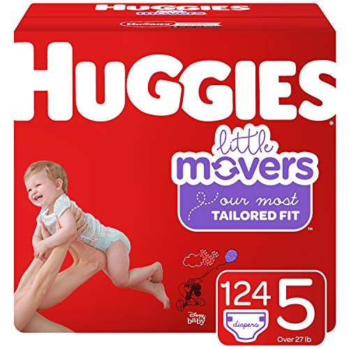 Huggies Little Movers Baby Diapers Size 5 124 Ct One Month Supply