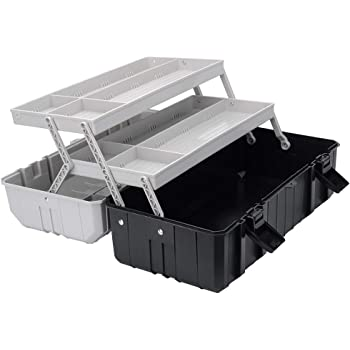 3-Layer Tool Box, 17-Inch Folding Toolbox with Tray, Black and Grey