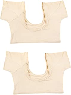 Prettyia 2 Pieces Silky Underarm Sweat Pads Shield Cami Tops - Extra Stretch & Soft - Summer Armpit Sweat Pad T Shirt for Ladies, Size L