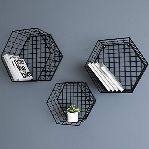 LMWLT Estantes Flotantes Hexagonales De 3 Piezas, Estantes De Pared De Rejilla Metálica, Estante De Pared para Decoración del Hogar para Dormitorio, Sala De Estar,Negro