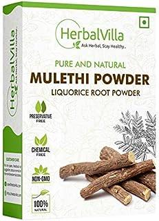 Herbalvilla Mulethi Powder For Body, Skin, Face and Hair (200 Grams), Skin Whitening | Yashtimadhu Powder, Liquorice Powde...