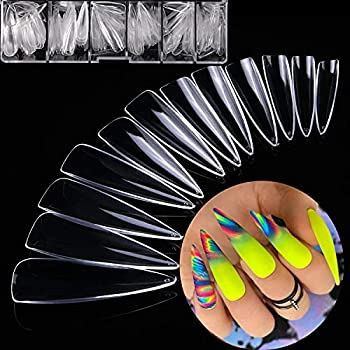 Nail Tips Stiletto Long Stiletto Clear Nail Tips- 500Pcs Acrylic Elegant Nails Tips Full Cover False Artificial Nails with Case for Home Salons Practice DIY Art