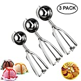 FUKTSYSM Ice Cream Scoop - Ice Cream Scoop Set, 3 Pcs Stainless Steel Ice Cream Scoop Trigger...