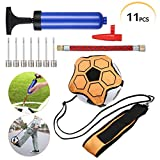 UIEEGPG 11-Piecs Sets Football Kick Trainer with Ball Pump, Football Practice Equipment fit for Balls Size 3 4 5, Elastic & Adjustable Waistband and Rope, Solo Soccer Training Aid for Kid and Adult