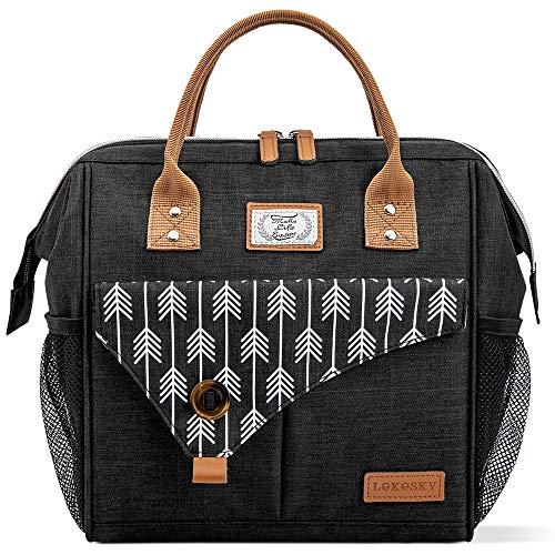 Lekesky Kühltasche Lunchtasche Damen Thermotasche Kühltasche für Arbeit, Ausflügen, Einkaufen, Picknick, 11 L, Schwarz