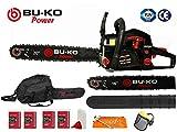 BU-KO 62cc Petrol Chainsaw 3.4HP 20' Bar & 2 x Chains + 16' Bar & 2x...