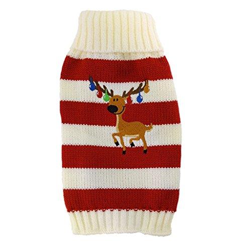 FLAMEER El Suéter Hecho Punto Reno De La Raya De La Navidad para La Navidad del Perrito del Perro Casero Se Viste para Arriba, Escoge - Rojo M