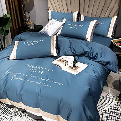Lätt, lyxig bomullsbroderad långhäftad bomull Fyra delar sängpaket lakan Bomullssängkläder