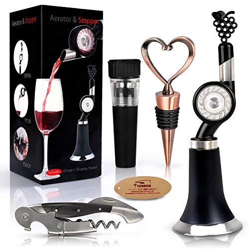 Yobansa Juegos de Accesorios para Vino, abridor de Vino Sacacorchos Aerador para Vino Pourer y Set de tapón de Vino, Rueda giratoria para Verter Vino (Style 02)