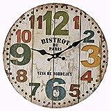 AIOJY Estilo Europeo, Estilo Retro Digital Colorido, Reloj De Pared De Reloj De Madera, Gran Naturaleza Art Deco Pared, Sala De Estar