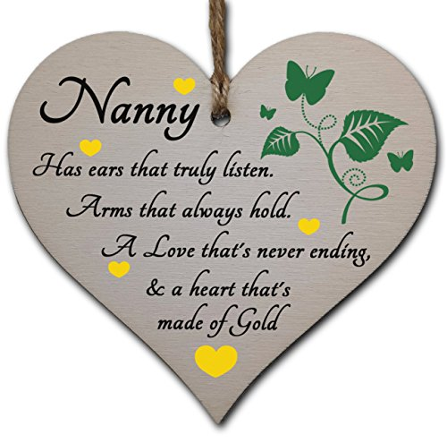 Handmade Wooden Hanging Heart Plaque Gift for Nanny Loving Thoughtful...