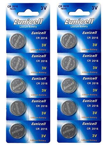 10 x CR2016 3V Lithium Knopfzelle 70 mAh (2 Blistercards a 5 Batterien) EINWEG Markenware Eunicell