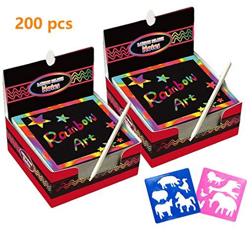 Global Tronics Scratch Art 200 Hojas Manualidades Rascar Paper Rainbow Mini Bloc de Notas Mágico con Lápices Plantillas Dibujos