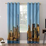 Print Blackout Curtains, W42 x L63 Insulating Room Darkening Blackout Drapes, New York City Skyline USA Landmark Buildings Skyscrapers Mod, Blackout Window Drapes for Home Décor(2 Panels)