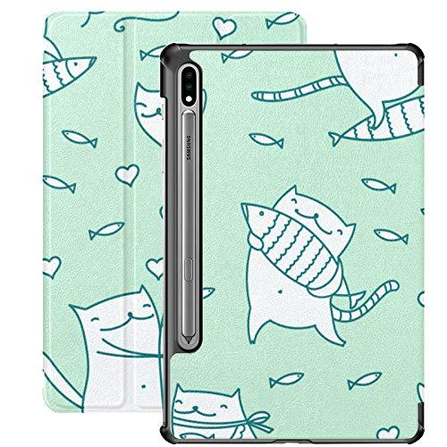 Funda Galaxy Tablet S7 Plus de 12,4 Pulgadas 2020 con Soporte para bolígrafo S, patrón de símbolos de Gato de Dibujos Animados Funda Protectora Delgada Linda con Soporte para Samsung